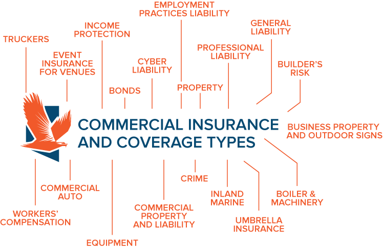 Commercial Insurance and Coverage Types Infographic